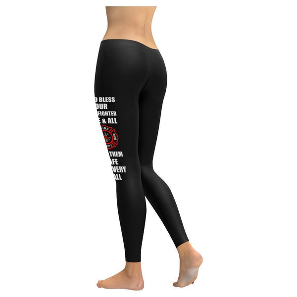 God Bless Our Firefighter One & All Keep Them Safe On Every Call Womens Leggings-NeatFind.net