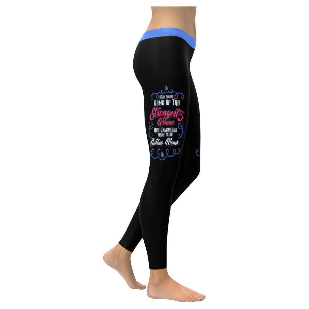 God Found Strongest Woman Unleashed Autism Moms Spectrum Disorder Women Leggings-NeatFind.net