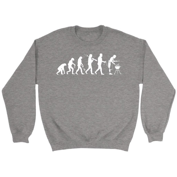 Grill Evolution Awesome BBQ Cool Funny Gifts Gag Soft Comfy Crewneck Sweatshirt-NeatFind.net