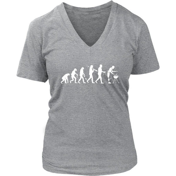 Grill Evolution Awesome BBQ Cool Funny Gifts Gag Soft Comfy V-Neck T-Shirt Women-NeatFind.net