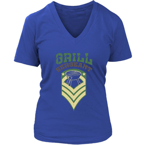 Grill Sergeant Army Military Veteran BBQ Funny Gift Gag V-Neck T-Shirt For Women-NeatFind.net