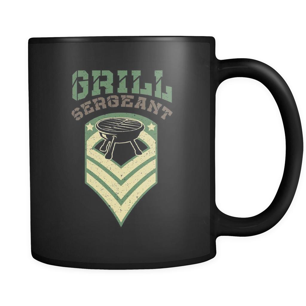 Grill Sergeant Army Military Veteran BBQ Funny Gifts Black 11oz Coffee Mug-NeatFind.net