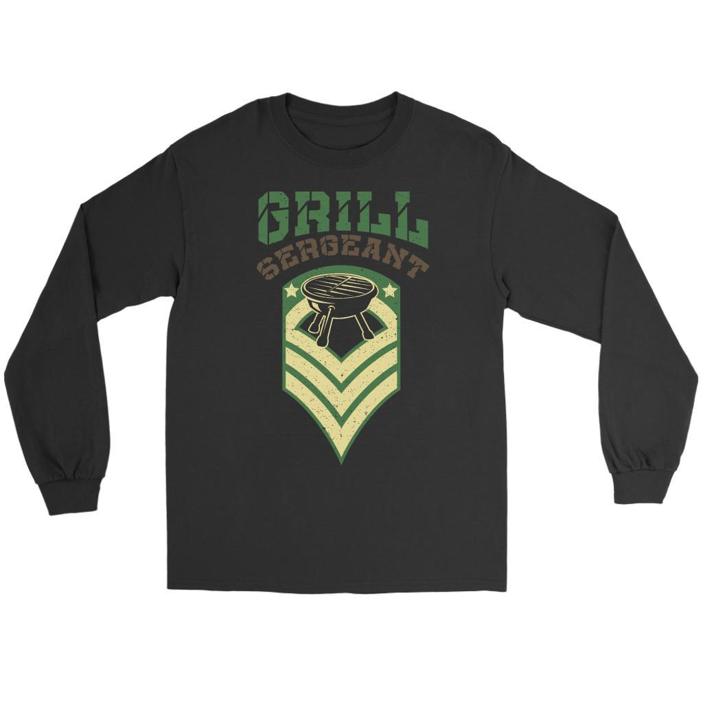 Grill Sergeant Army Military Veteran BBQ Funny Gifts Gag Long Sleeve T-Shirt-NeatFind.net
