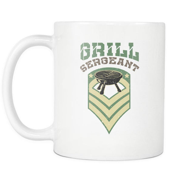 Grill Sergeant Army Military Veteran BBQ Funny Gifts White 11oz Coffee Mug-NeatFind.net