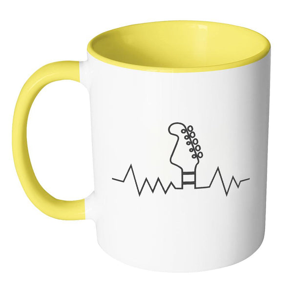 Guitar Heart Beat Pulse Monitor Oximeter Cool Funny Awesome Unique Guitarist 11oz Accent Coffee Mug-NeatFind.net