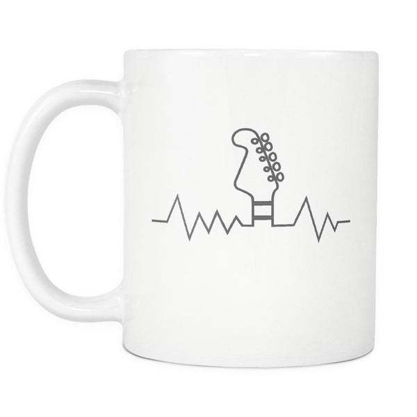 Guitar Heart Beat Pulse Monitor Oximeter Cool Funny Awesome Unique Guitarist White 11oz Coffee Mug-NeatFind.net