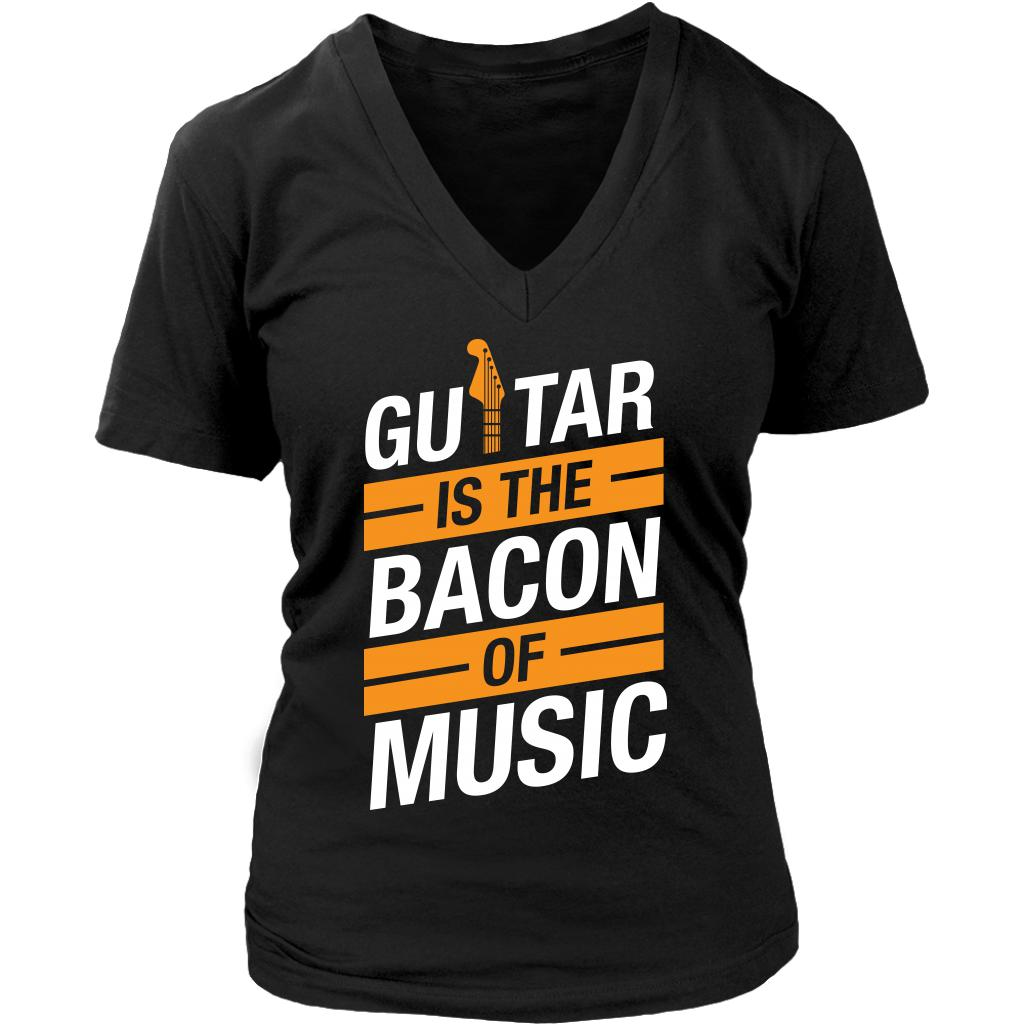 Guitar Is The Bacon Of Music Cool Funny Awesome Unique Guitarist V-Neck T-Shirt For Women-NeatFind.net