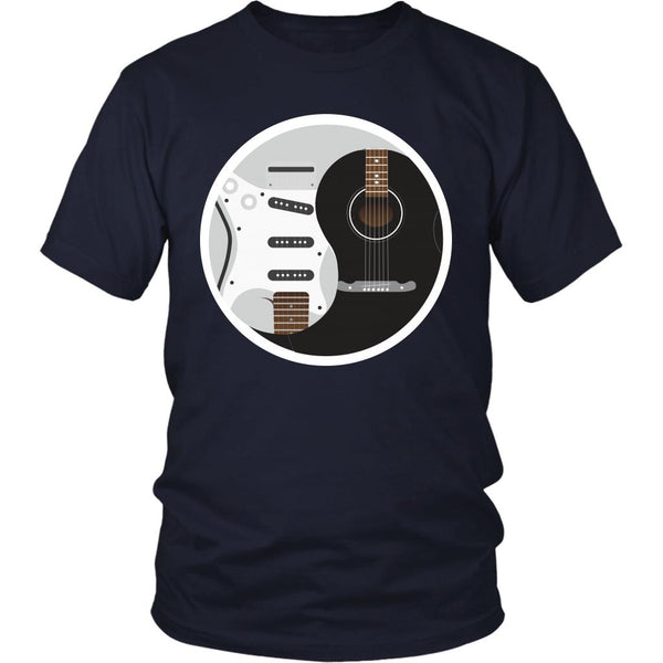 Guitar Yin Yang Black White Cool Funny Awesome Unique Guitarist Unisex T-Shirt For Women & Men-NeatFind.net