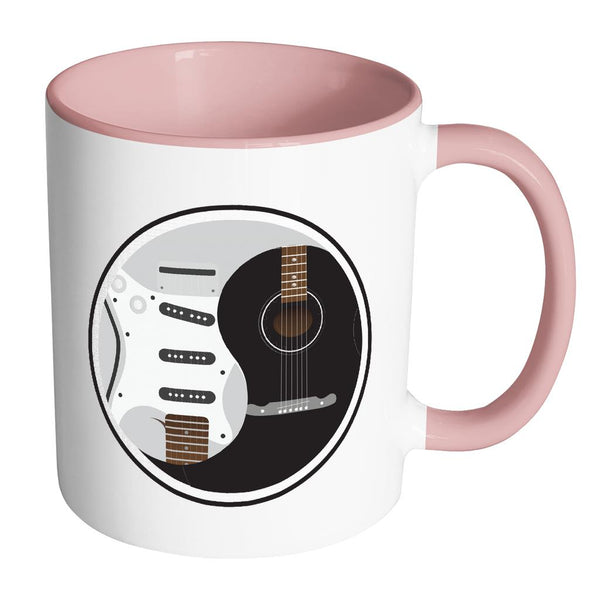 Guitar Yin Yang Cool Funny Awesome Unique Guitarist 11oz Accent Coffee Mug-NeatFind.net