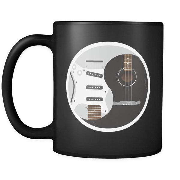 Guitar Yin Yang Cool Funny Awesome Unique Guitarist Black 11oz Coffee Mug-NeatFind.net