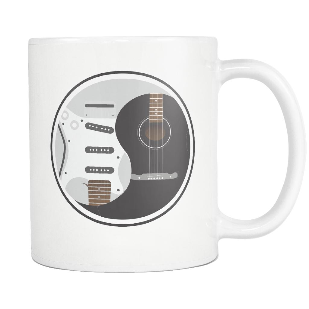 Guitar Yin Yang Cool Funny Awesome Unique Guitarist White 11oz Coffee Mug-NeatFind.net