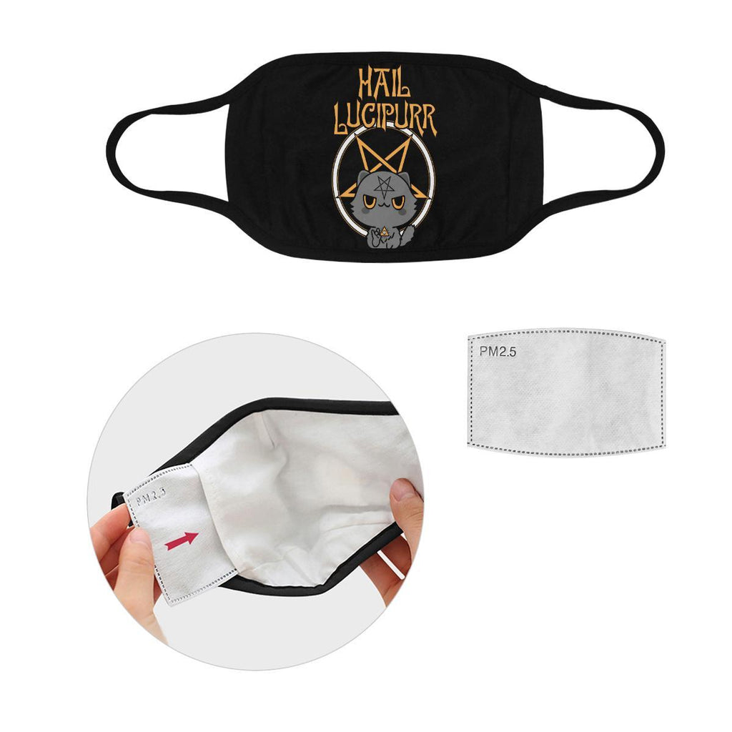 Hail Lucipurr Funny Washable Reusable Cloth Face Mask With Filter Pocket-Face Mask-S-Black-NeatFind.net