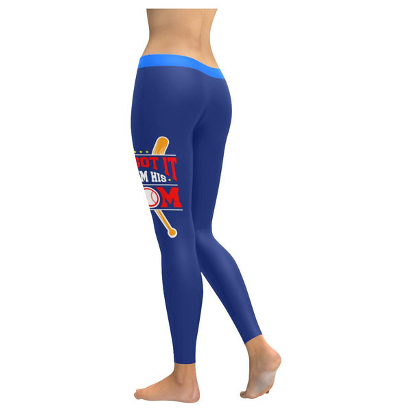 He Got It From His Mom Funny Unique Cool Quirky Baseball Gift Idea Women Legging-NeatFind.net