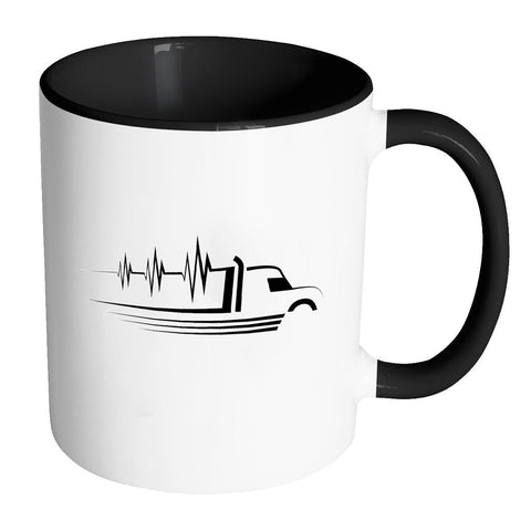 Heart Beat Truck Funny Gifts For Truckers Drivers White 11oz 7Colors Coffee Mug-NeatFind.net