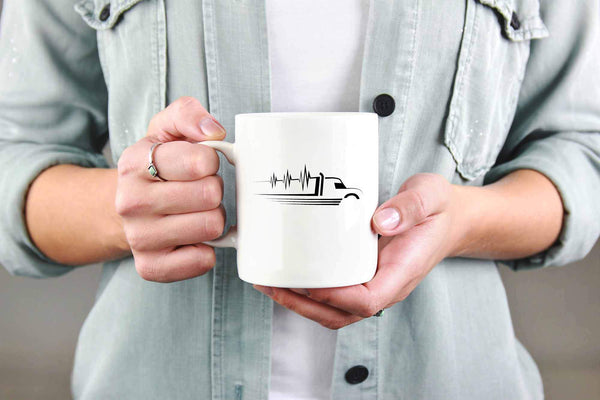 Heart Beat Truck Funny Gifts For Truckers Drivers White 11oz Coffee Mug-NeatFind.net
