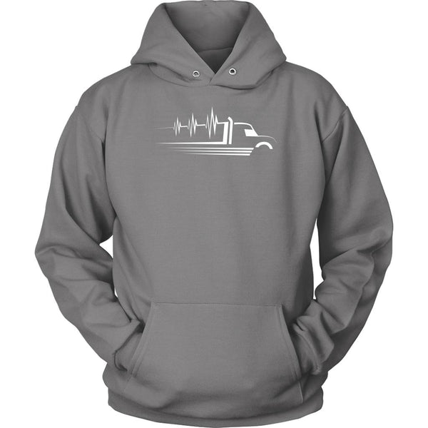 Heart Beat Truck Funny Truckers Drivers Gifts Big Rig Unisex Hoodie-NeatFind.net