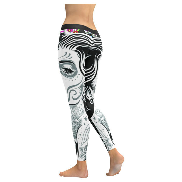 Highly Stylish Sugar Skull Makeup Woman UPF40+ Non See Through Womens Leggings-NeatFind.net
