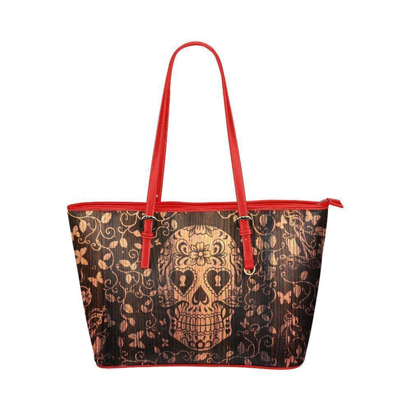 Hip Water Resistant Small Leather Tote Bags Sugar Skull #1 (5 Colors)-NeatFind.net