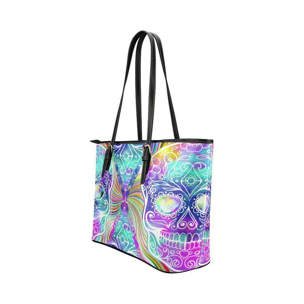 Hip Water Resistant Small Leather Tote Bags Sugar Skull #11 (5 colors)-NeatFind.net