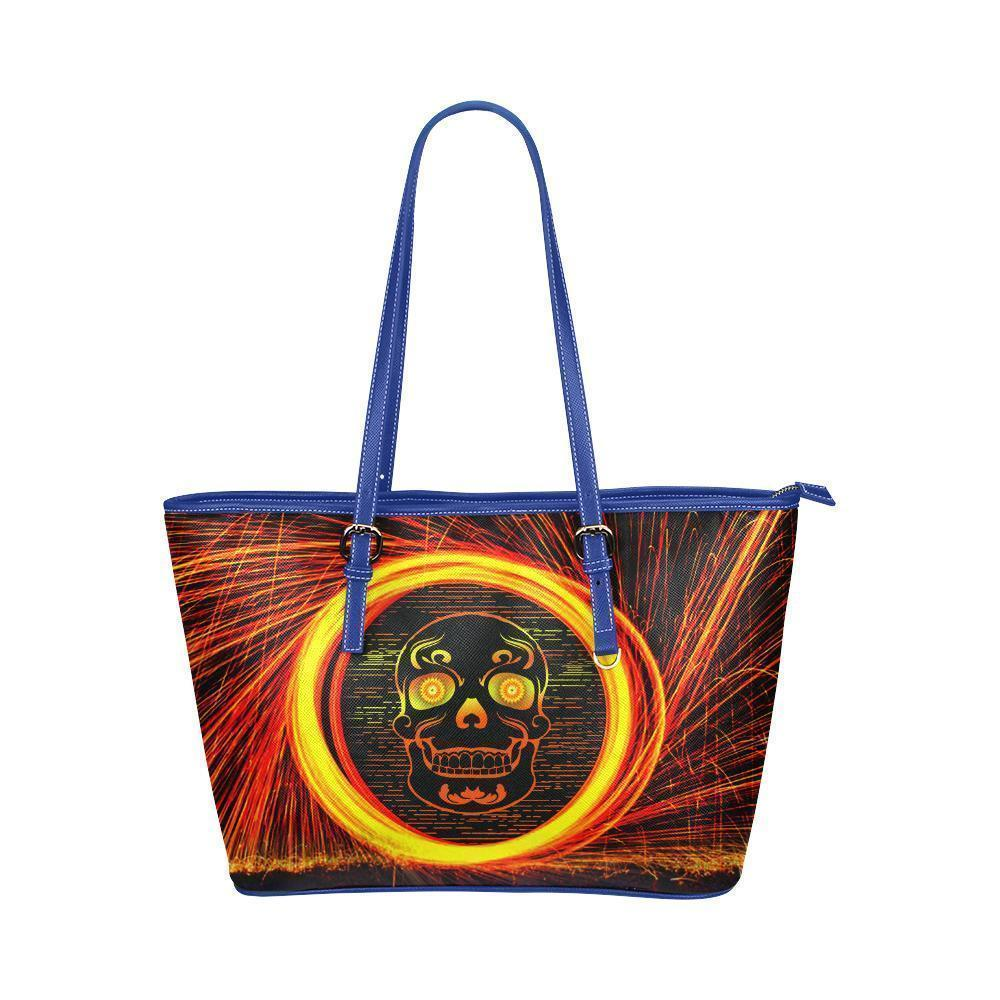 Hip Water Resistant Small Leather Tote Bags Sugar Skull #12 (5 colors)-NeatFind.net