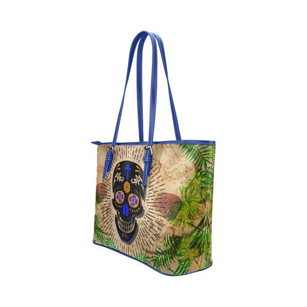 Hip Water Resistant Small Leather Tote Bags Sugar Skull #13 (5 colors)-NeatFind.net