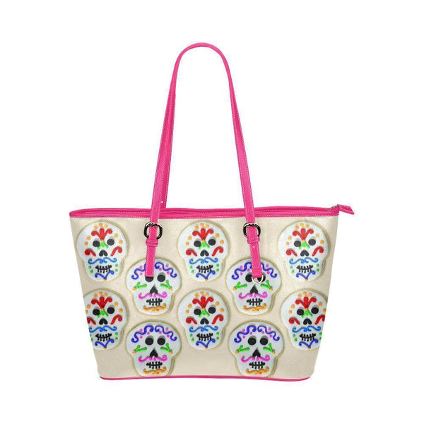 Hip Water Resistant Small Leather Tote Bags Sugar Skull #14 (5 colors)-NeatFind.net