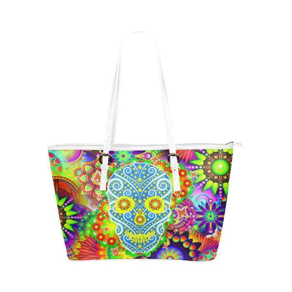 Hip Water Resistant Small Leather Tote Bags Sugar Skull #15 (5 colors)-NeatFind.net