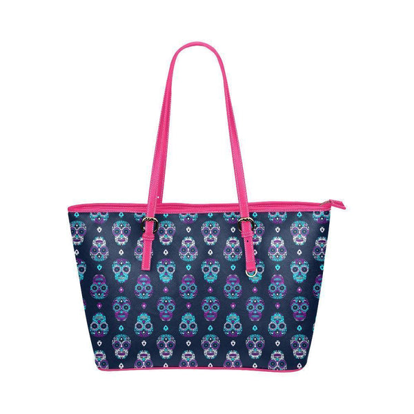 Hip Water Resistant Small Leather Tote Bags Sugar Skull #16 (5 colors)-NeatFind.net