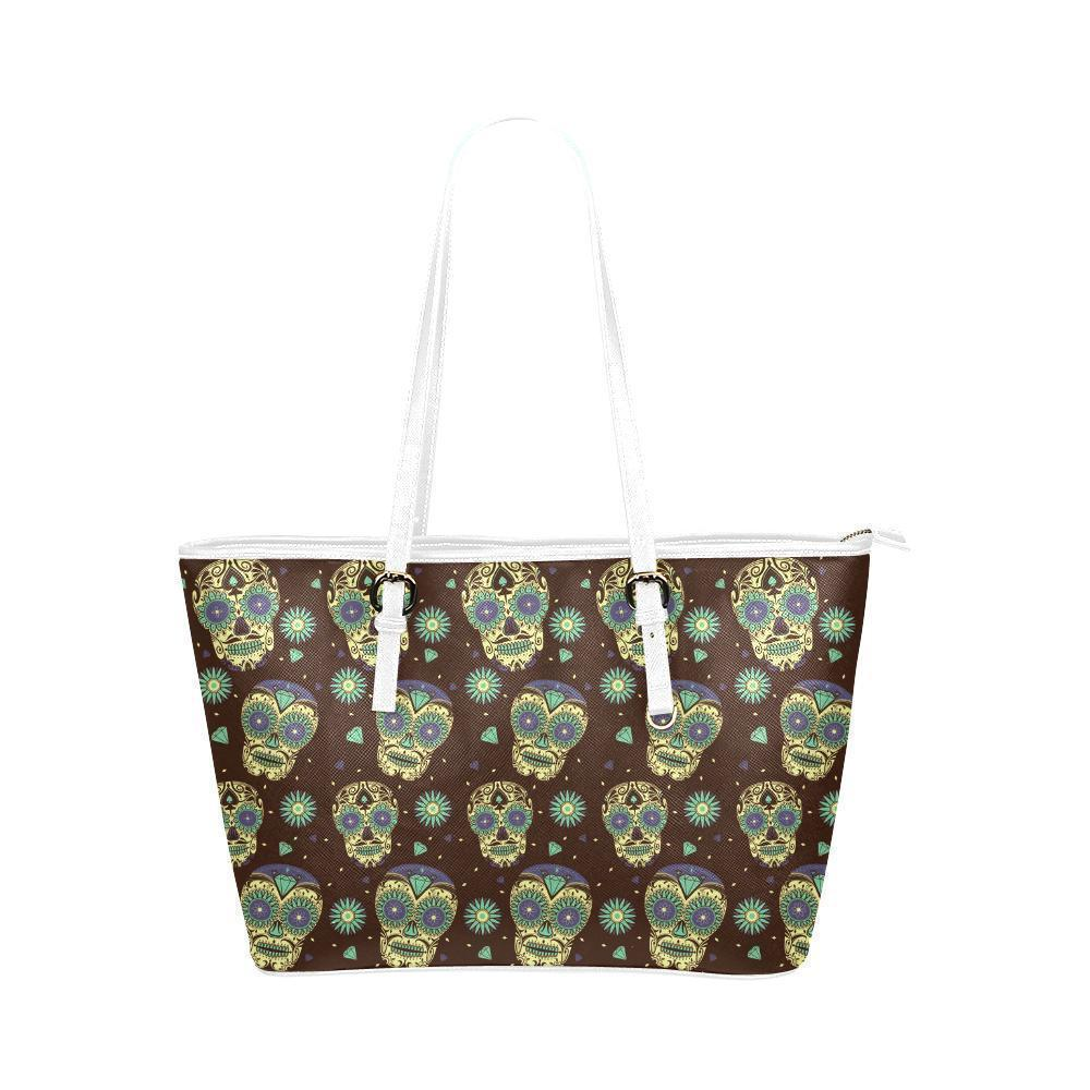 Hip Water Resistant Small Leather Tote Bags Sugar Skull #17 (5 colors)-NeatFind.net
