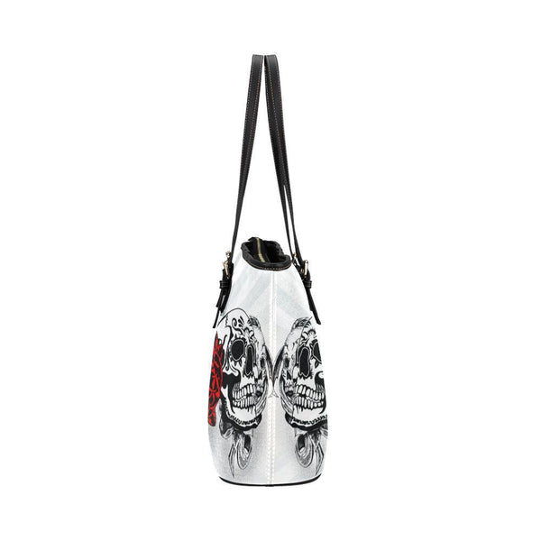 Hip Water Resistant Small Leather Tote Bags Sugar Skull #3 (5 Colors)-NeatFind.net