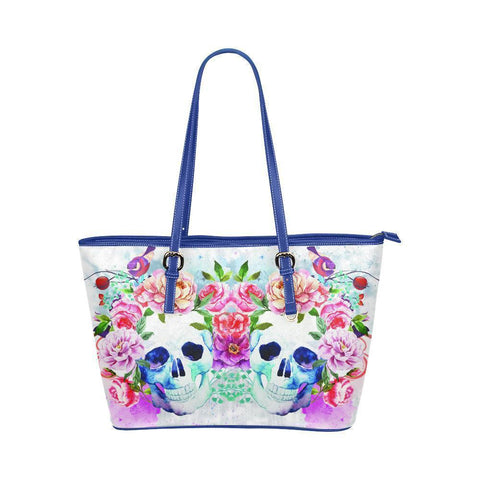 Hip Water Resistant Small Leather Tote Bags Sugar Skull #4 (5 Colors)-NeatFind.net