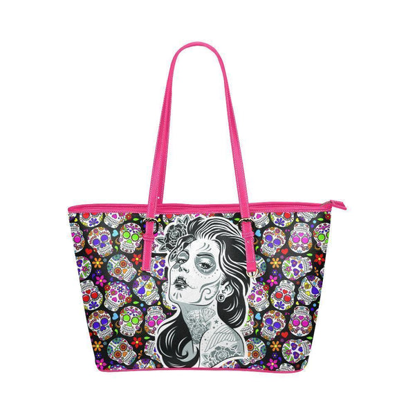 Hip Water Resistant Small Leather Tote Bags Sugar Skull #5 (5 Colors)-NeatFind.net