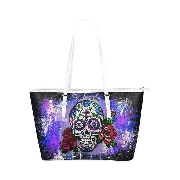 Hip Water Resistant Small Leather Tote Bags Sugar Skull #6 (5 colors)-NeatFind.net
