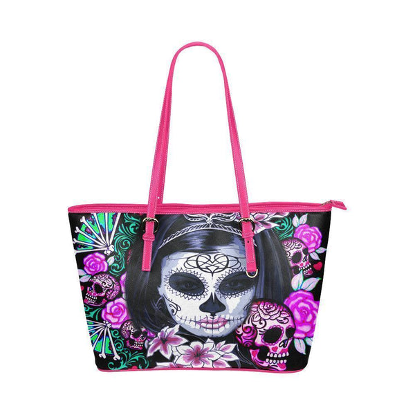 Hip Water Resistant Small Leather Tote Bags Sugar Skull #8 (5 colors)-NeatFind.net