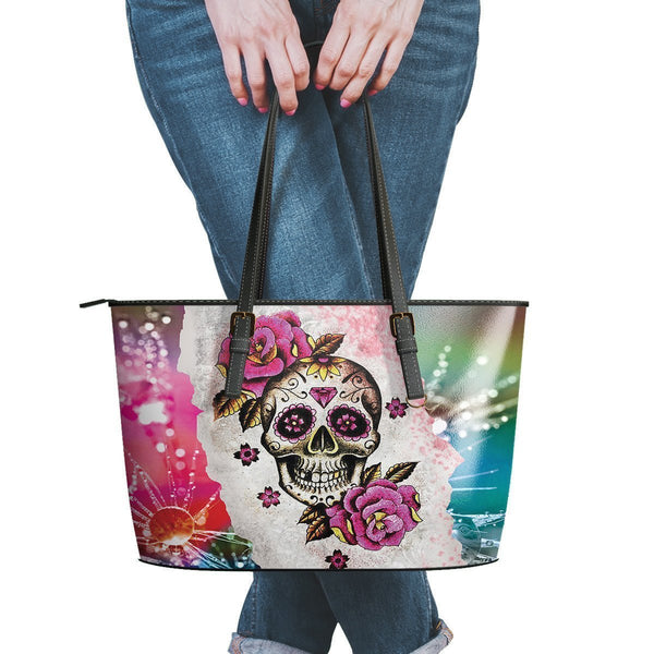 Hip Water Resistant Small Leather Tote Bags Sugar Skull #9 (5 colors)-NeatFind.net