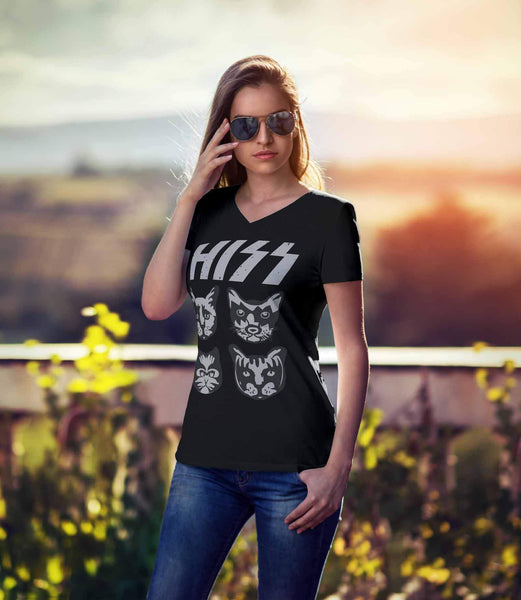 Hiss Kitten Rock Band Cute Funny Cat Lovers Kitty Obsessed V-Neck T-Shirt-NeatFind.net