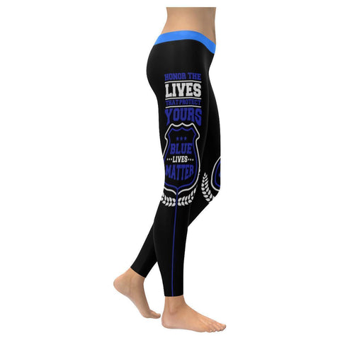 Honor The Lives That Protect Yours Blue Lives Matter Police Womens Leggings-NeatFind.net