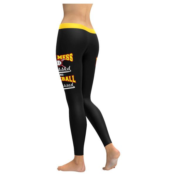 Hot Mess Blessed & Baseball Obsessed Funny Unique Cool Gift Idea Womens Leggings-NeatFind.net