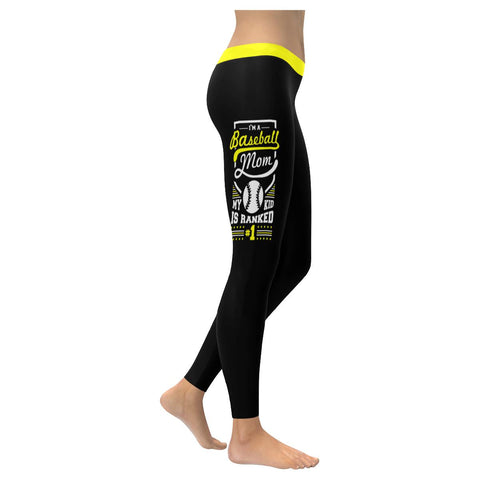 I Am A Baseball Mom My Kid Is Ranked Number 1 Funny Gift Ideas Womens Leggings-NeatFind.net