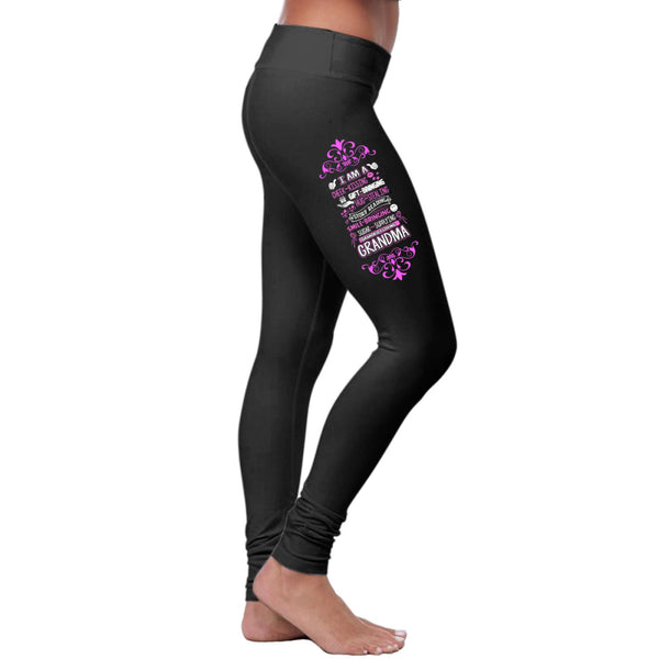 I Am A Cheek-Kissing Grandkids Loving Grandma Leggings-NeatFind.net