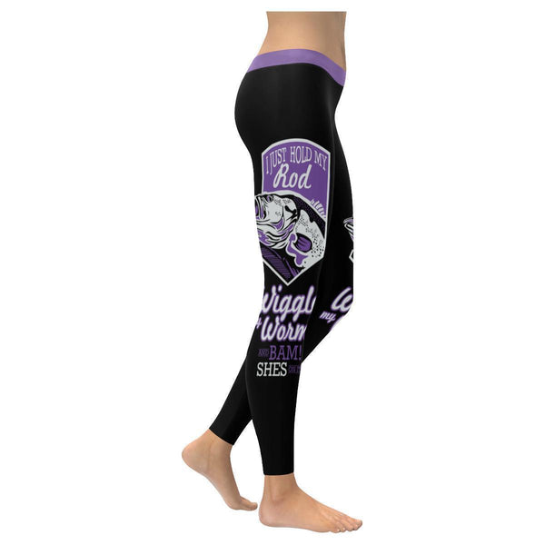 I Just Hold My Rod Wiggle My Worm And Bam Shes On It Low Rise Leggings For Women (3 colors)-NeatFind.net