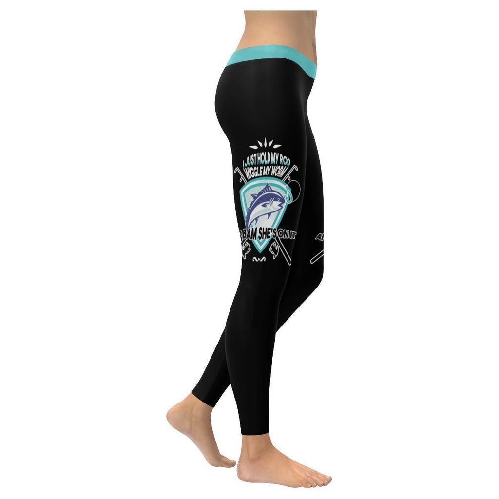I Just Hold My Rod Wiggle My Worm And Bam She's On It V2 Low Rise Leggings For Women (3 colors)-NeatFind.net