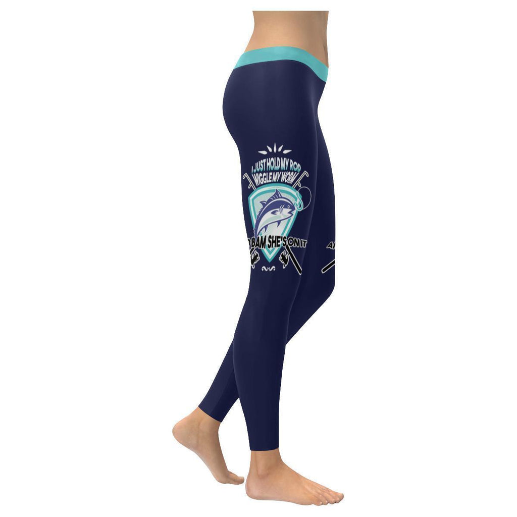 19411263e63125 I Just Hold My Rod Wiggle My Worm And Bam She's On It V2 Low Rise Leggings  For Women (3 colors)
