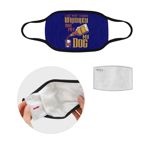 I Just Want To Drink Whiskey & Pet My Dog Washable Reusable Cloth Face Mask-Face Mask-S-Navy-NeatFind.net