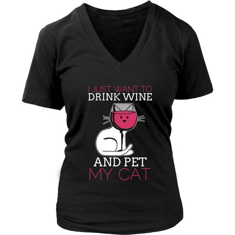 I Just Want To Drink Wine & Pet My Cat Cute Funny Lover Kitty V-Neck T-Shirt-NeatFind.net