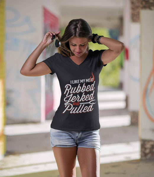 I Like My Meat Rubbed Jerked & Pulled BBQ Funny Gifts Gag VNeck TShirt For Women-NeatFind.net