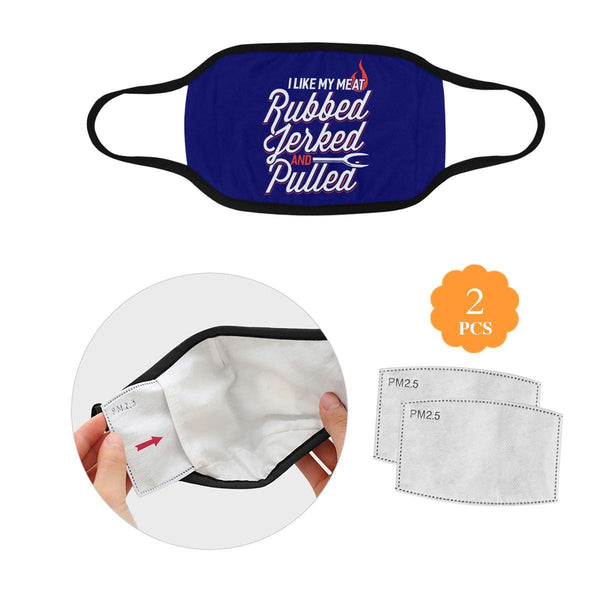 I Like My Meat Rubbed Jerked & Pulled BBQ Washable Reusable Cloth Face Mask-L-Navy-NeatFind.net