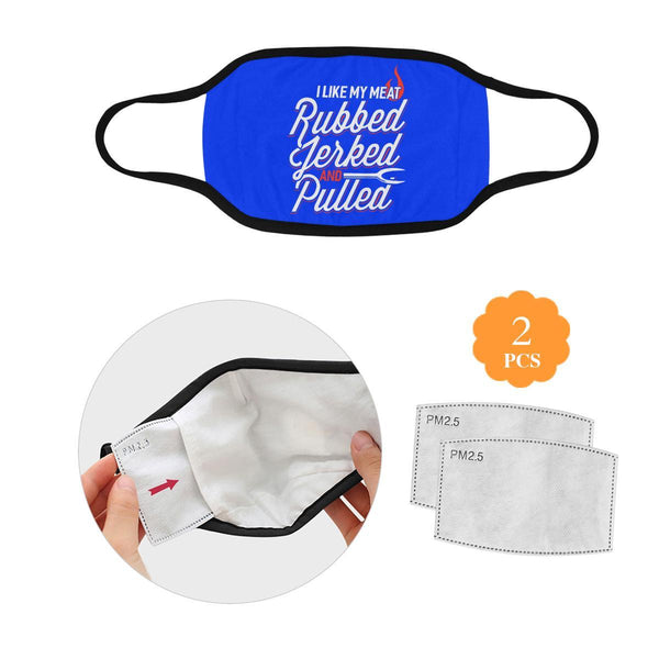 I Like My Meat Rubbed Jerked & Pulled BBQ Washable Reusable Cloth Face Mask-L-Royal Blue-NeatFind.net