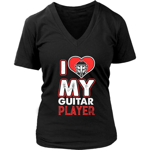 I love My Guitar Player Cool Funny Awesome Guitarist Women V-Neck T-Shirt-NeatFind.net