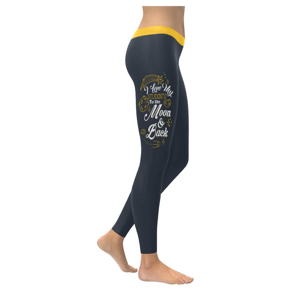 I Love My Students To The Moon & Back Funny Teacher Gift Ideas Womens Leggings-NeatFind.net